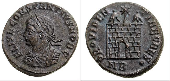 AE3 de Constancio II. PROVIDENTIAE CAESS. Nicomedia _nicomedia_RIC_vII_147