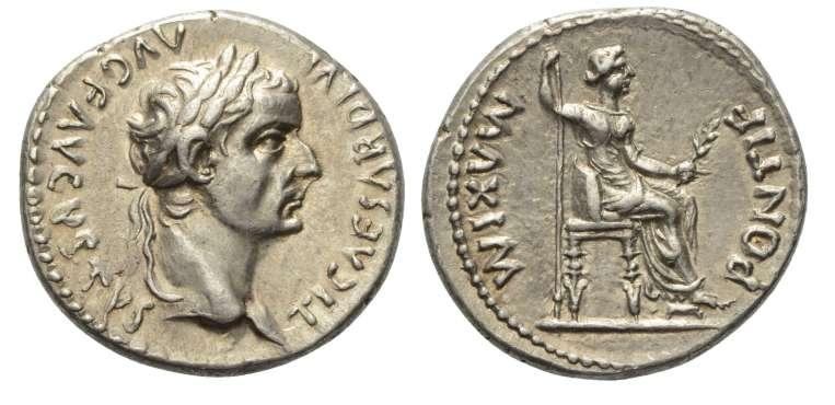 pontif maxim - Denario de Tiberio. PONTIF MAXIM. Lyon RIC_0030.7