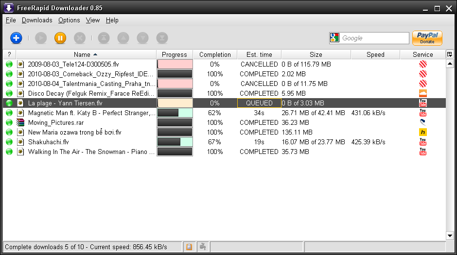 FreeRapid Downloader 0.9 Update 4 - Κατεβάστε απεριόριστα Main