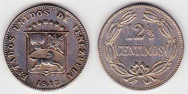 12 centimos y medio de Venezuela de 1946 189-30a