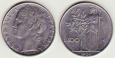 Italia, 100 liras, 1979. FAO. 95-96