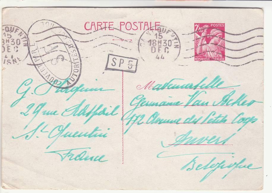 """Lettre en FM d'Albert (Somme) de juin 45 pour Avignon avec censure """"LAB""""- non répertoriée !! 1944_cens_SP_01a"""