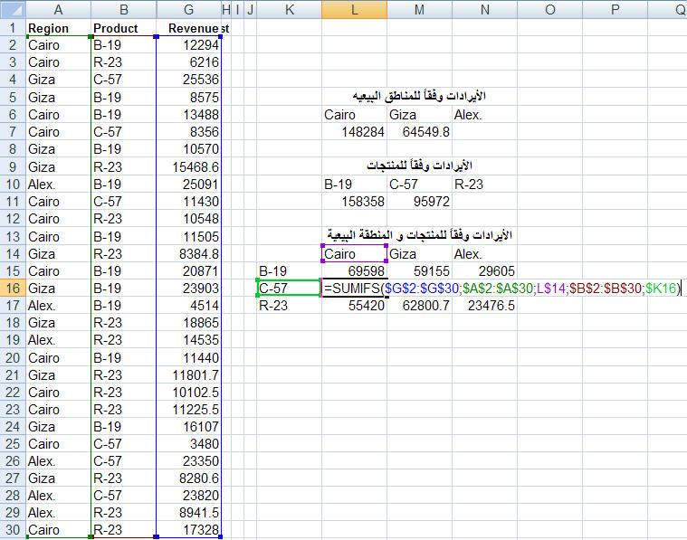 شرح دالة SUMIFS في إكسل 2007  Funexcel_8_4_11_10