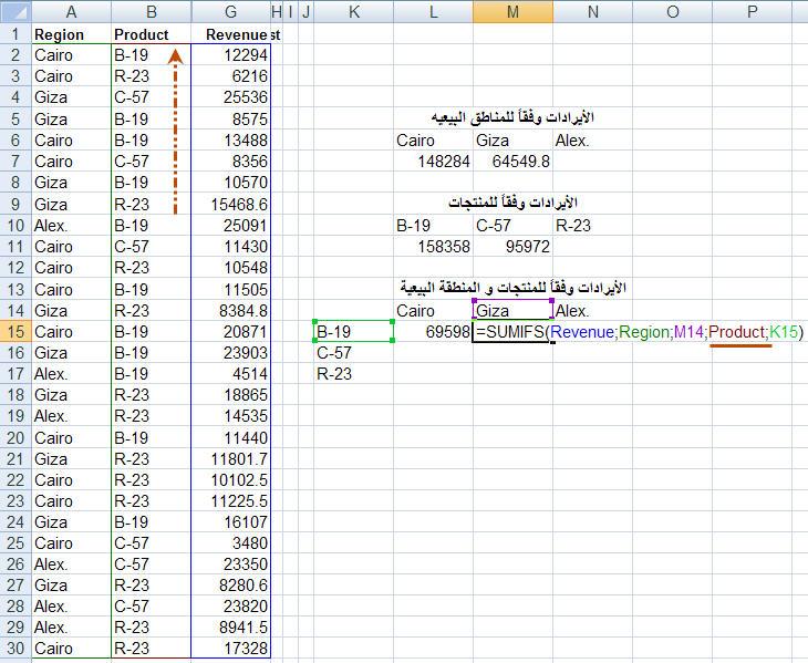 شرح دالة SUMIFS في إكسل 2007  Funexcel_8_4_11_6