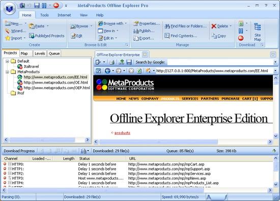 Offline Explorer 5.9 SR3: загрузка сайтов на ПК OP-01