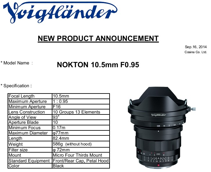 Voigtlander 10.5mm f/0.95 Nokton-10-5mm-0-95