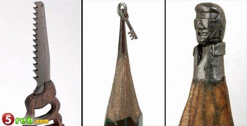 اعمال على رؤوس اقلام الرصاص Pencilleadsculptures-a