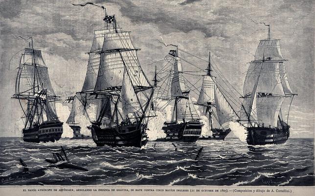 El navio de tres puentes en la Armada Navio-principe-asturias-trafalgar--644x400