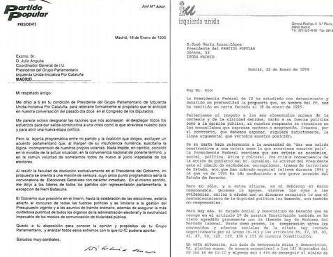 Las cartas que prueban el famoso «pacto» de Aznar y Anguita al último Gobierno de González Cartas3--478x370