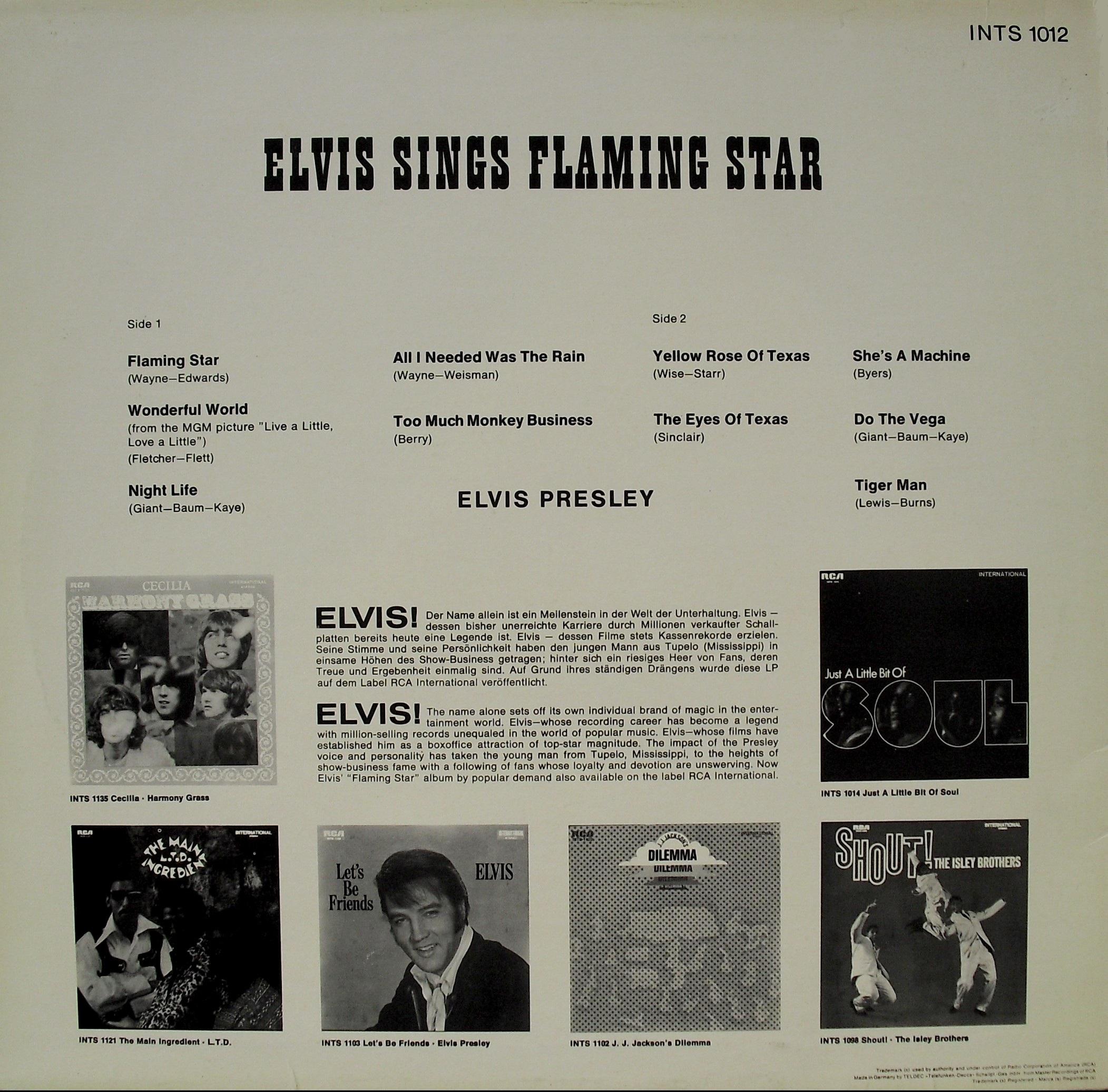 ELVIS SINGS FLAMING STAR 0082lu3y