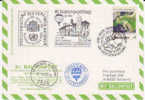 ballonpost - Ballonpostflug Pro Juventute 81z51s