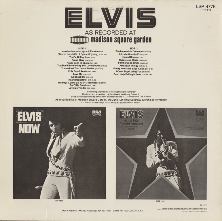 ELVIS AS RECORDED AT MADISON SQUARE GARDEN Aarwmsggermanyback2w4uvi