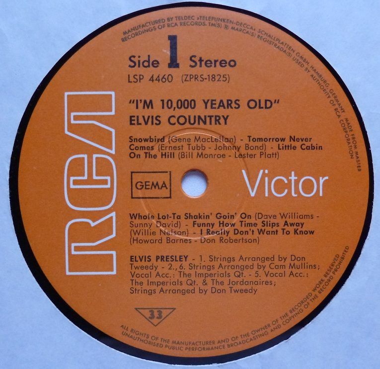 I'M 10,000 YEARS OLD - ELVIS COUNTRY Country71side1unjrt