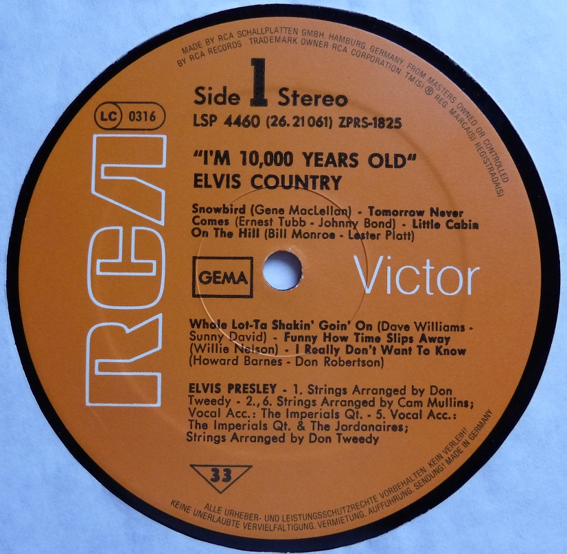 I'M 10,000 YEARS OLD - ELVIS COUNTRY Country77side1jfkmt