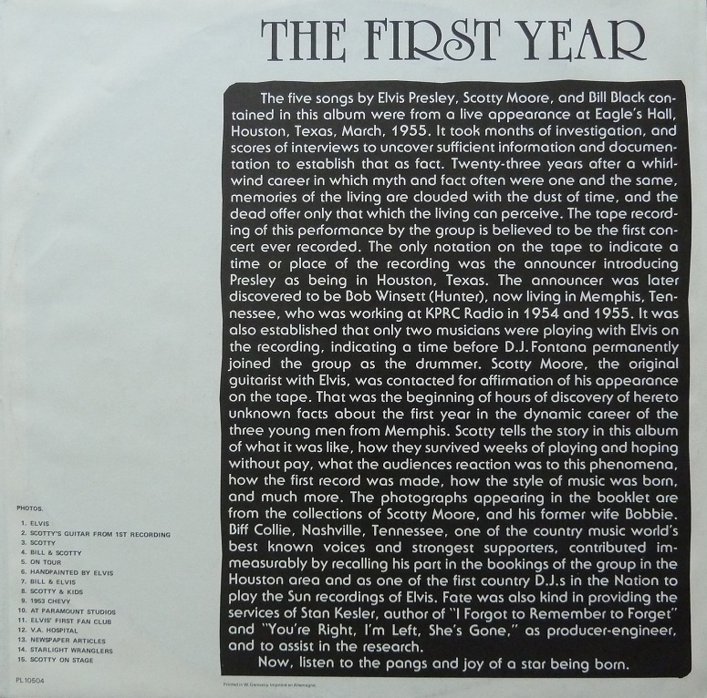 ELVIS, SCOTTY AND BILL - THE FIRST YEAR Firstyearhllebejikd