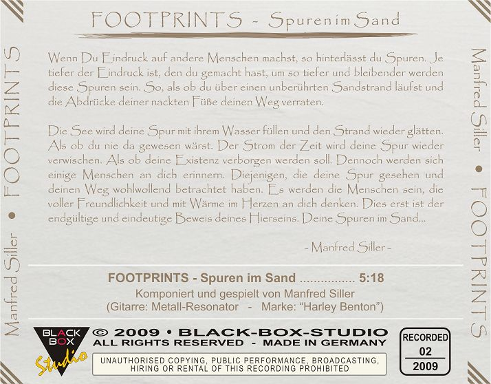 """CD-COVER: """"FOOTPRINTS - Spuren im Sand"""" K-sillermanfred2009foo2umh"""