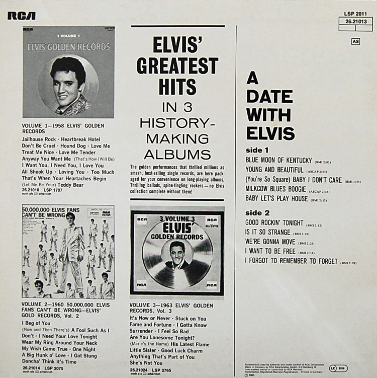 A DATE WITH ELVIS Lsp-2011-2knopb