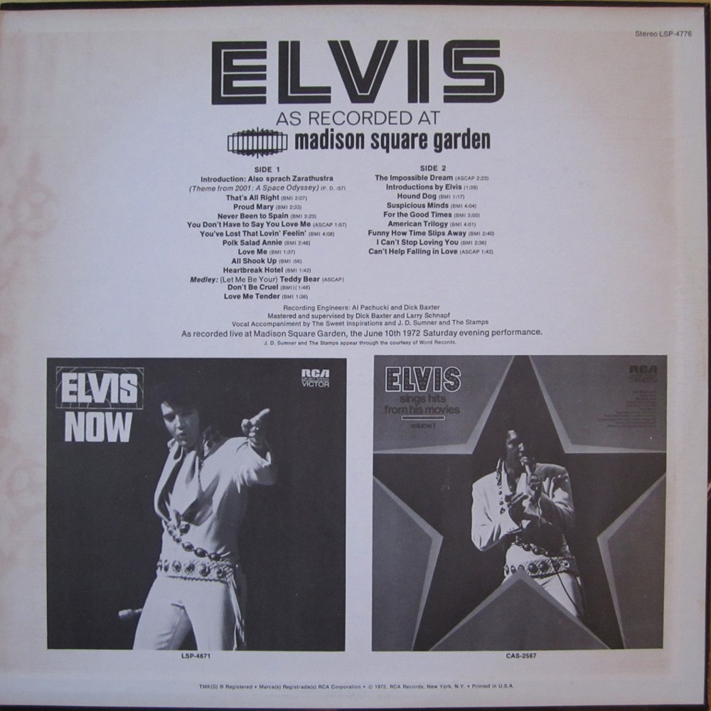 ELVIS AS RECORDED AT MADISON SQUARE GARDEN Lsp4776b5drty