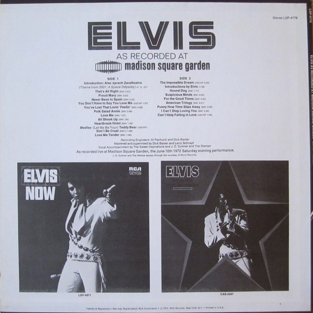 ELVIS AS RECORDED AT MADISON SQUARE GARDEN Lsp4776da0cy3
