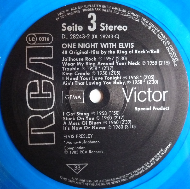 ONE NIGHT WITH ELVIS - 40 ORIGINAL HITS BY THE KING OF ROCK'N'ROLL Onenightwe85label3jjfwc