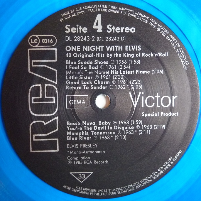 ONE NIGHT WITH ELVIS - 40 ORIGINAL HITS BY THE KING OF ROCK'N'ROLL Onenightwe85label4l5do0
