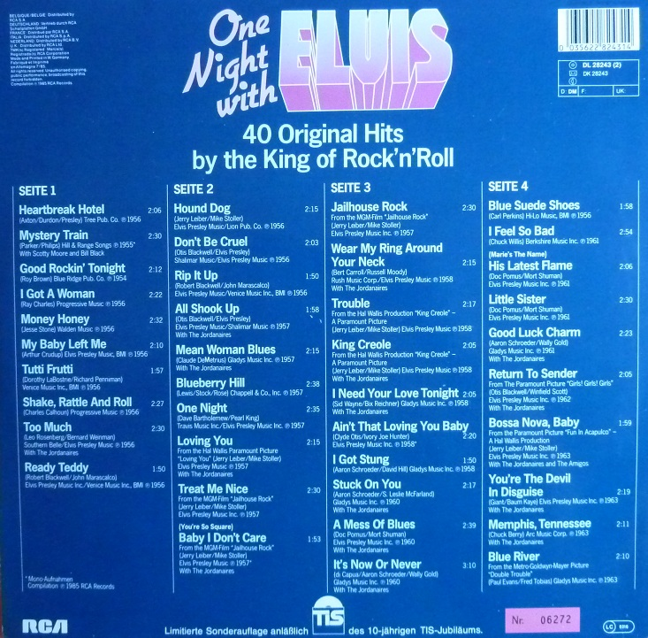 ONE NIGHT WITH ELVIS - 40 ORIGINAL HITS BY THE KING OF ROCK'N'ROLL Onenightwe85rckseitev4uze