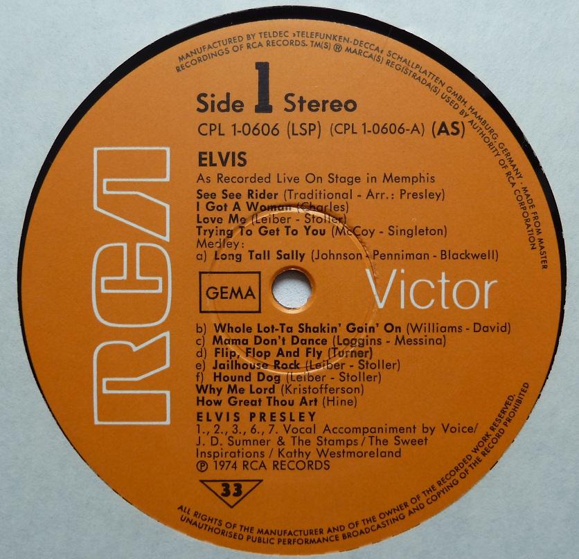 RCA LP-Label-Spiegel der Bundesrepublik Deutschland Recordedliveonstage7446l89