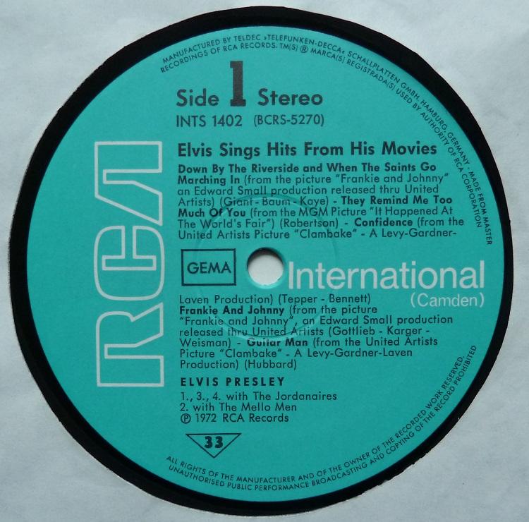ELVIS SINGS HITS FROM HIS MOVIES-VOLUME 1 Singshitsfrom72side1kykf2