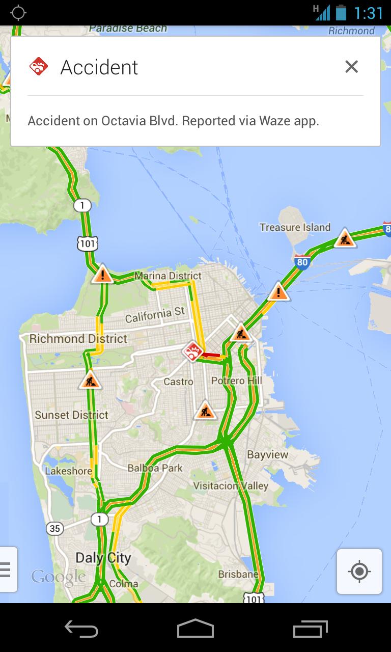 [INFO] Google Maps intègre Waze, spécialiste de la cartographie communautaire [22.08.2013] Waze-accident