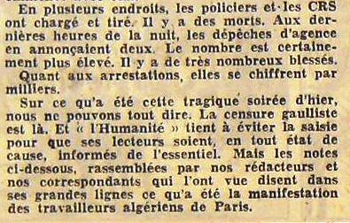 commémoration du 17 octobre 1961 - Page 2 06-_L_Humanite_18_octobre