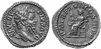 Denario forrado de Septimio Severo. P M TR P XVII COS III P P - Salus. Roma 122494.m