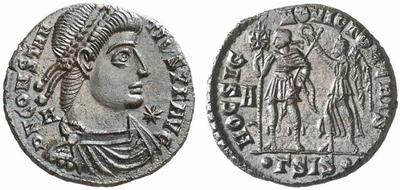 AE2 de Constancio II. HOC SIGNO VICTOR ERIS. Siscia 352656.m