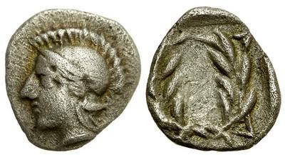 Dióbolo de Elaia, Aiolis. 450-400 a. C. Dedicado a los Maestros Monedas62 y Chencho. 947564.m