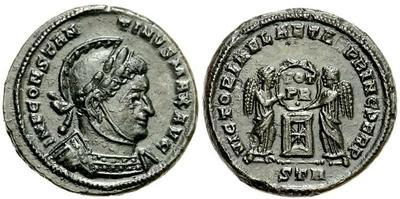 AE3/4 de Constantino I. VICTORIAE LAETAE PRINC PERP. Trier ¿cuño bárbaro? 648586.m