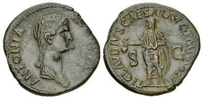 Dupondio de Antonia.  TI CLAVDIVS CAESAR AVG P M TR P IMP / SC, Roma 1834695.m
