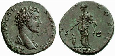 Sestercio de Marco Aurelio. TR POT III COS II / PIETAS / S C    394573.m