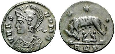 AE4 conmemorativo de Roma. Aquilea 1157351.m