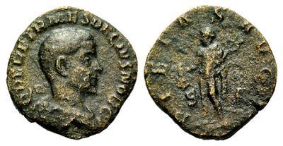 Sestercio de Herennio Etrusco PIETAS AVGG. Mercurio. Roma. 1788419.m