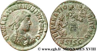 AE2 de Valentiniano II. REPARATIO REI PVB. Siscia 138641.m