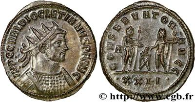 Antoniniano de Diocleciano. CONSERVATOR AVGG. Siscia. 57244.m