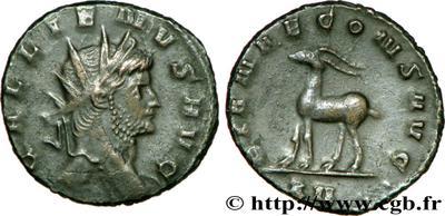 Antoniniano de Galieno. DIANAE CONS AVG - Gacela. Roma 65150.m