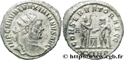 Aureliano de Maximiano Hércules. CONSERVATOR AVGG. Siscia  464250.m
