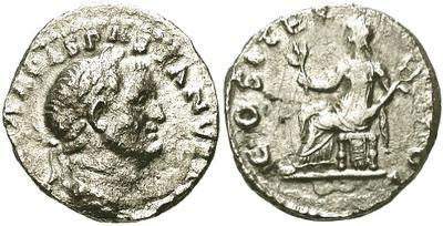 Denario de Vespasiano. COS ITER TR POT. Roma 10015.m