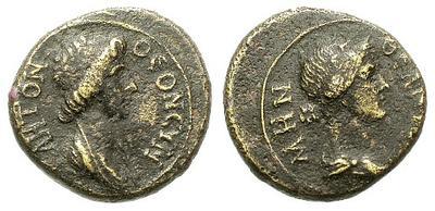 AE15 de Pérgamo. ΘEON PΩMHN. Busto drapeado de Roma a derecha. 13659.m