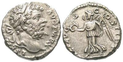 Denario de Septimio Severo. VICT AVGG COS II PP. Roma 1482.m
