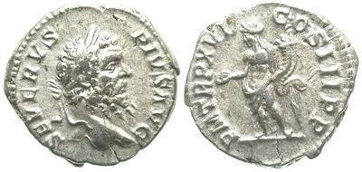 Denario de Septimio Severo. P M TR P XVI COS III P P - Genio. Roma 212.m