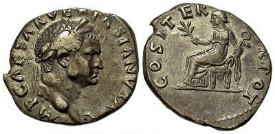 Denario de Vespasiano. COS ITER TR POT. Roma 22199.m