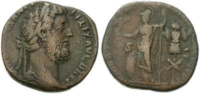 Sestercio de Comodo. MINER VICT P M TR P XIIII IMP VIII COS V P P - S C. Minerva estante a izq. Ceca Roma. 28505.m