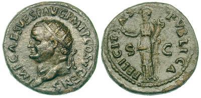 Dupondio de Vespasiano. FELICITAS PVBLICA / SC. Roma 493819.m