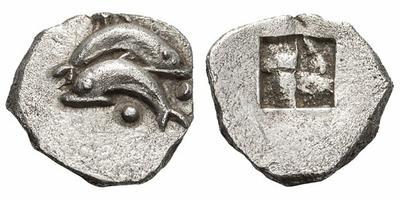 Óbolo de Tracia, Thasos. Delfin. 435 - 411 a. C. 1830056.m
